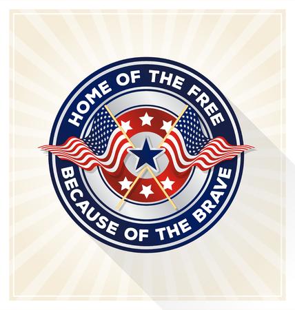 Concepto del día placa conmemorativa. EE.UU. símbolo de escudo pattic con el texto Hogar del libre debido al valiente. ilustración vectorial Ilustración de vector
