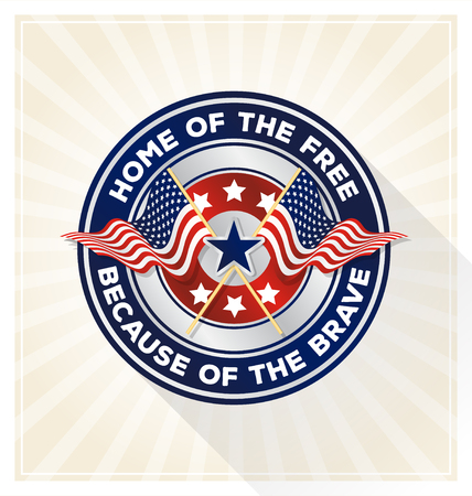 "Memorial day badge concept. USA patriotic shield symbol with text ""Home of the free because of the brave�. Vector illustration"