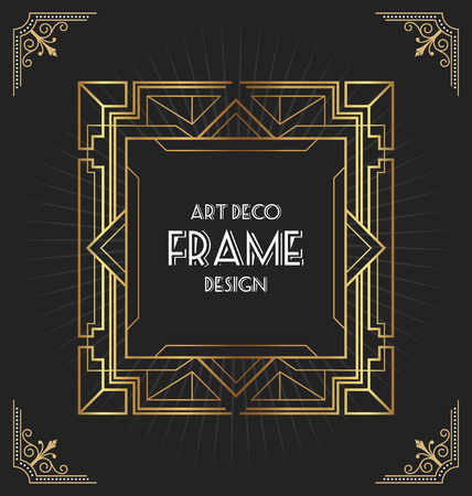 Art deco frame design for your design such as invitation, print, banner, poster. Vector illustration