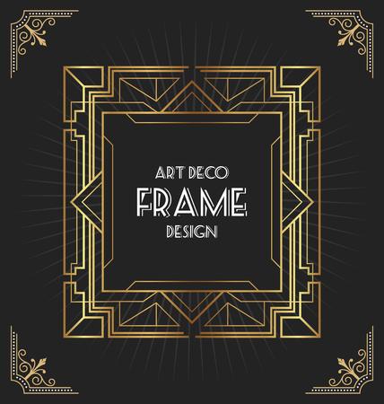 Diseño de marco Art Deco para su diseño, como invitación, impresión, pancarta, póster. Ilustración vectorial