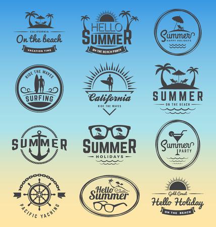 Modern retro insignia for summer holidays, surfing and nautical vector design | Enjoy summer | Hello Summer | Summer Travel Decoration. Vector illustration
