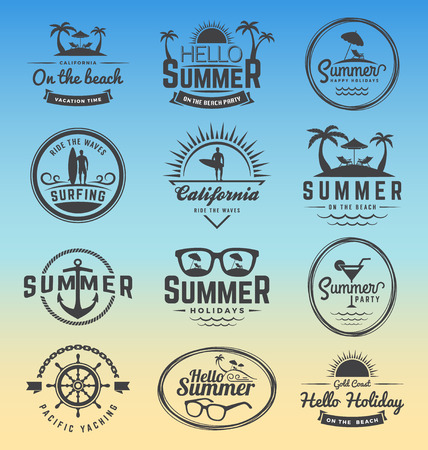 coconuts: Modern retro insignia for summer holidays, surfing and nautical vector design   Enjoy summer   Hello Summer   Summer Travel Decoration. Vector illustration