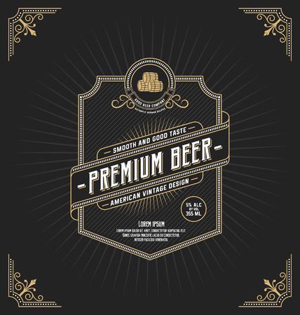 logos de empresas: Diseño del marco de la vendimia para etiquetas, bandera, logotipo, emblema, menú, etiqueta y otro diseño. Adecuado para el whisky, la cerveza y el producto de primera calidad.