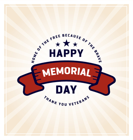national hero: Happy Memorial Day Greeting Cards. Vector illustration