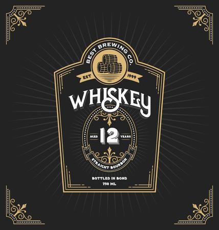 Etykieta Vintage ramki do whisky i napojów. Możesz to zastosować do innego produktu, np. Do dekoracji piwa, wina lub sklepu. Ilustracji wektorowych Ilustracje wektorowe