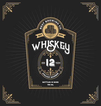 Vintage frame label for whiskey and beverage product. You can apply this for another product such as Beer, Wine, Shop decoration. Vector illustration Çizim