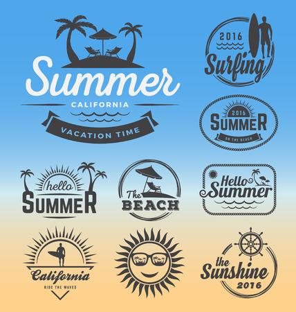 Modern retro insignia for summer holidays, beach party, surfing and nautical vector design   Enjoy summer   Hello Summer   Summer Travel Decoration. Vector illustration