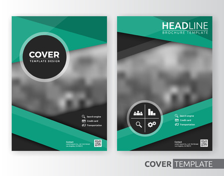 bleed: Abstract cover design suitable for flyer, brochure, book cover and annual report. Green and white color A4 size template background with bleed. Vector illustration Illustration