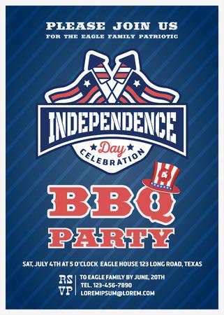 julio: Barbacoa de la invitación del partido y la tarjeta de la respuesta, cuatro de julio cerebración, EE.UU. Día de la Independencia diseño de la invitación del partido con el fuego artificial y la divisa de la bandera. ilustración vectorial