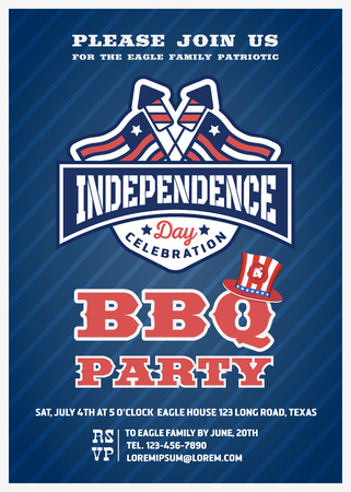 Barbecue's party invitation and response card, fourth of July cerebration, USA Independence day party invitation design with firework and flag badge. Vector illustration