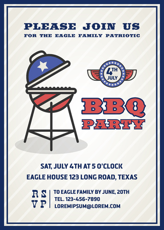 gril: Barbecues party invitation and response card, fourth of July cerebration, USA Independence day party invitation design with badge and gril. Vector illustration Illustration