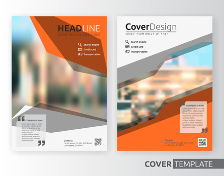 template: Abstract business and corporate cover design layout. Suitable for flyer, brochure, book cover and annual report. Orange and white color A4 size template background with bleed. Vector illustration