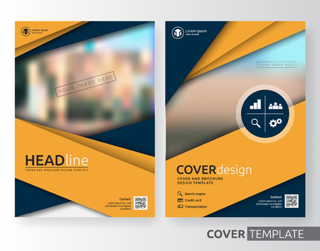 Abstract cover design suitable for flyer, brochure, book cover and annual report. Yellow and navy blue color A4 size template background with bleed. Vector illustration