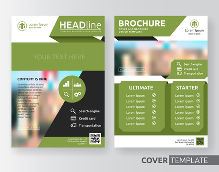book cover design: Abstract cover design suitable for flyer, brochure, book cover and annual report. Green, black and white color A4 size template background with bleed. Vector illustration Illustration