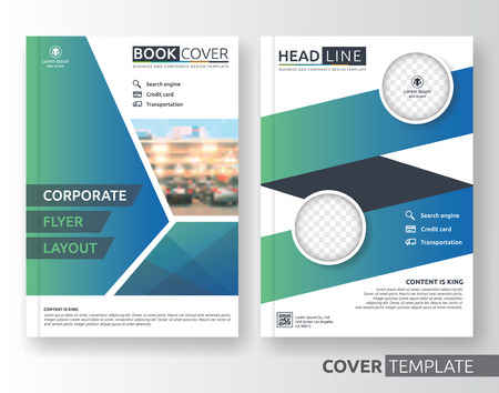 advert: Multipurpose business and corporate cover design layout. Suitable for flyer, brochure, book cover and annual report. green and blue color A4 size template background with bleeds. Vector illustration Illustration