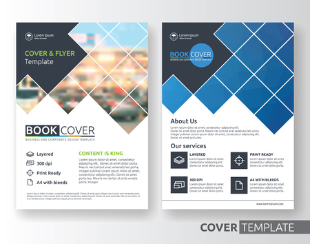Multipurpose business corporate flyer layout design. Suitable for flyer, brochure, book cover and annual report. blue and black color in A4 size template background with bleeds. Vector illustration