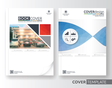 advert: Multipurpose business and corporate cover design layout. Suitable for flyer, brochure, book cover and annual report. Blue and white color A4 size template background with bleeds. Vector illustration