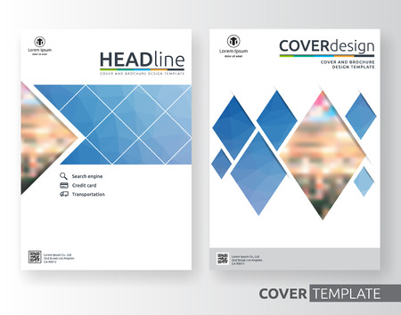 Abstract business and corporate cover design layout. Suitable for flyer, brochure, book cover and annual report. Blue and white color A4 size template background with bleed. Vector illustration