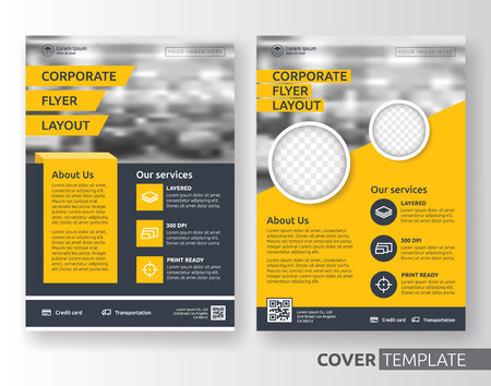 black yellow: Multipurpose business corporate flyer layout design. Suitable for flyer, brochure, book cover and annual report. Yellow and black color in A4 size template background with bleeds. Vector illustration Illustration