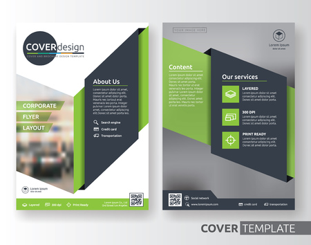 Multipurpose corporate business flyer layout design. Suitable for flyer, brochure, book cover and annual report. green and black color in A4 size template background with bleeds. Vector illustration