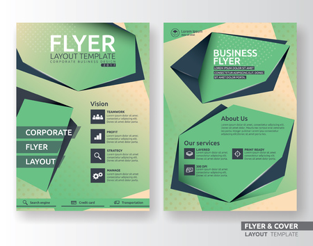 business flyer: Multipurpose corporate business flyer layout design. Suitable for flyer, brochure, book cover and annual report. green and black color in A4 size template background with bleeds. Vector illustration
