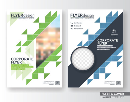 advert: Multipurpose corporate business flyer layout design. Suitable for flyer, brochure, book cover and annual report. green and blue color in A4 size template background with bleeds. Vector illustration