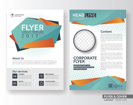 orange color: Multipurpose corporate business flyer layout design. Suitable for flyer, brochure, book cover and annual report. green and orange color in A4 size template background with bleeds. Vector illustration Illustration