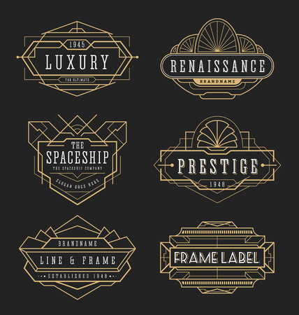 art logo: Vintage line frame design for labels, banner, emblem, apparel, t- shirts, sticker and other design object. Vector illustration