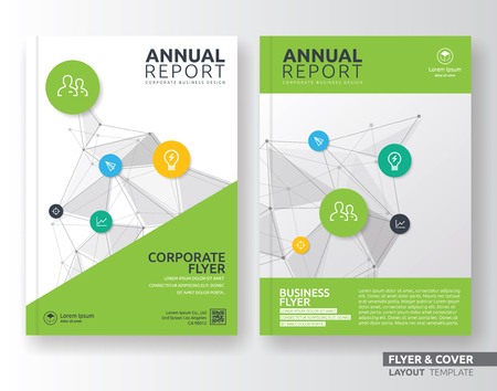 brochure cover design: Multipurpose corporate business flyer layout design. Suitable for flyer, brochure, book cover and annual report. Green color in A4 size template background with bleeds.