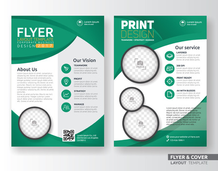 Multipurpose corporate business flyer layout template design. Suitable for leaflet, flyer, brochure, book cover and annual report. Layout in A4 size with bleeds.