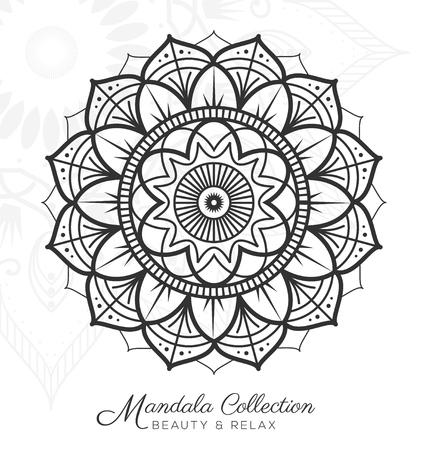 mandala decoratief ornament ontwerp voor kleurplaat, wenskaart, uitnodiging, tattoo, yoga en spa-symbool. illustratie