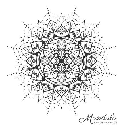Mandala dekoracyjny wzór ozdoby dla dorosłych, kolorowanka, karta z pozdrowieniami, zaproszenie, tatuaż, joga i symbol spa. ilustracja Ilustracje wektorowe