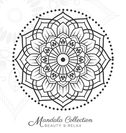 mandala decorative ornament design for coloring page, greeting card, invitation, tattoo, yoga and spa symbol. illustration