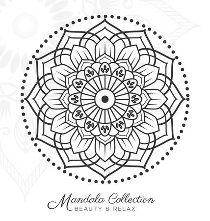 mandala decorative ornament design for coloring page, greeting card, invitation, tattoo, yoga and spa symbol. illustration