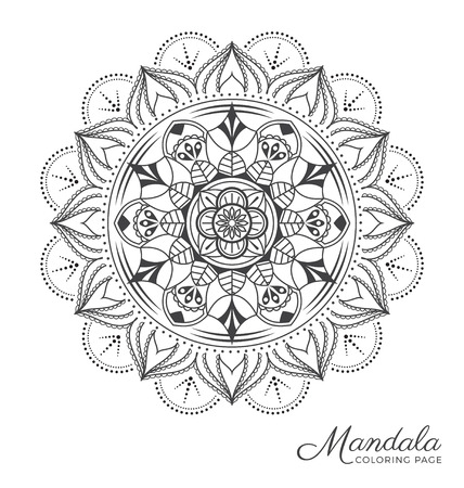Tibetan mandala decorative ornament design for adult coloring page, greeting card, invitation, tattoo, yoga and spa symbol. Vector illustration