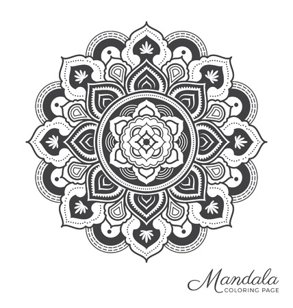 tibetan: Tibetan mandala decorative ornament design for adult coloring page, greeting card, invitation, tattoo, yoga and spa symbol. Vector illustration