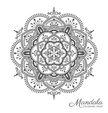 Tibetan mandala decorative ornament design for adult coloring page, greeting card, invitation, tattoo, yoga and spa symbol. Vector illustration
