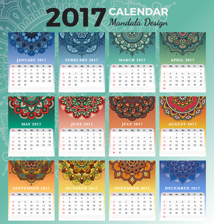 desk calendar: Printable monthly calendar 2017 design with colors of seasons and henna tattoo. 2017 Desk calendar template start with Sunday and support for 8.5x11 inches. Vector illustration