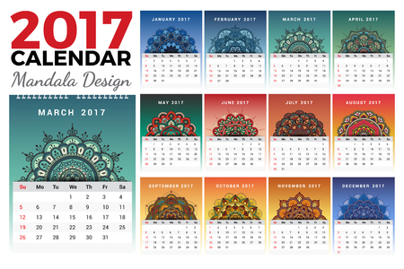 Printable monthly calendar 2017 design with colors of seasons and mehndi tattoo. 2017 wall calendar template start with Sunday and support for 8.5x11 inches. Vector illustration Illustration