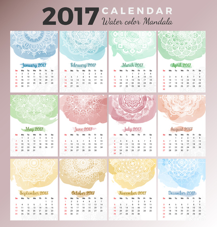 monthly calendar: Printable monthly calendar 2017 design with colors of seasons and mehndi tattoo on watercolor paint. Vector illustration