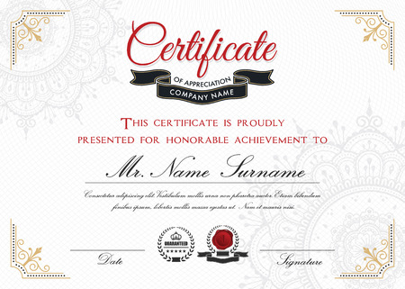 bleed: Certificate template design with emblem, flourish border on white background || A4 size +Bleed