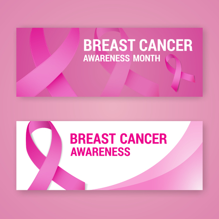 National breast cancer awareness banner design with pink ribbon symbol. Fit for social media page cover. Vector illustration Illustration