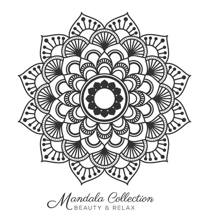 Tibetan mandala decorative ornament design for coloring page, greeting card, invitation, tattoo, yoga and spa symbol. Vector illustration