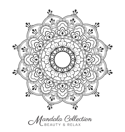 mandala decorative ornament design for coloring page, greeting card, invitation, tattoo, yoga and spa symbol. Vector illustration Illustration