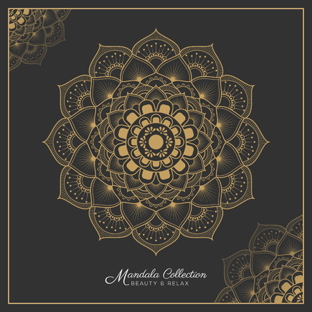 mandala decorative ornament design for coloring page, greeting card, invitation, tattoo, yoga and spa symbol. Vector illustration 矢量图像