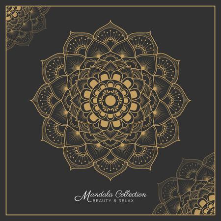 mandala decorative ornament design for coloring page, greeting card, invitation, tattoo, yoga and spa symbol. Vector illustration Illustration