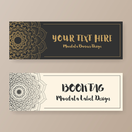 BANNER DESIGN: Book tag design with Mandala floral decorative. ethnic abstract banner design. Vector illustration