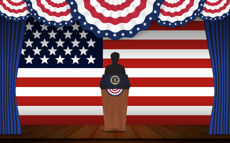 state election: Presidential election banner background. President podium with unknown person on stage and United state of America flag design for US Presidential election 2016. Vector illustration.