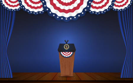 president of the usa: USA President podium on stage with semi-circle decorative flag on top. Open curtain stage with blue background scene. Vector illustration