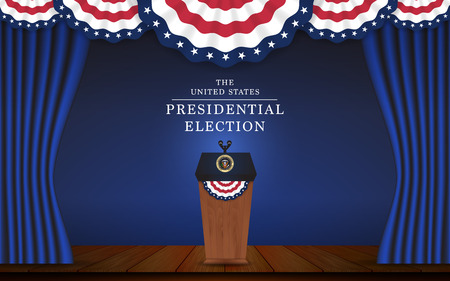 presidential: Presidential election banner background. President podium with microphone on stage design for US Presidential election of 2016. Vector illustration.
